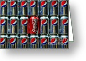 Can Art Greeting Cards - Soda - coke vs. pepsi Greeting Card by Paul Ward
