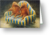 Surrealistic Painting Greeting Cards - Sofa Greeting Card by Lolita Bronzini