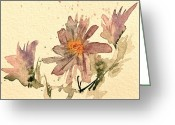 Aster  Painting Greeting Cards - Soft Asters Aged Look Greeting Card by Beverley Harper Tinsley