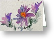 Aster  Painting Greeting Cards - Soft Asters Greeting Card by Beverley Harper Tinsley