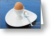 Cup Photo Greeting Cards - Soft-boiled Egg Set Greeting Card by Atiketta Sangasaeng