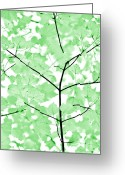 White And Green Greeting Cards - Soft Green Leaves Melody Greeting Card by Jennie Marie Schell