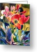 Fine_art Greeting Cards - Soft Quilted Tulips Greeting Card by Kathy Braud