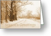 Landscape Cards Greeting Cards - Soft Sepia Seasons Greetings Card Greeting Card by Carol Groenen