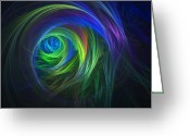 Lyle Hatch Greeting Cards - Soft Swirls Greeting Card by Lyle Hatch
