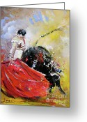 Torero Greeting Cards - Softly and Gently Greeting Card by Miki De Goodaboom