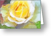 Magic Pastels Greeting Cards - Softly Blooming Rose Greeting Card by AE Hansen