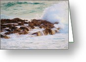 Surf Silhouette Greeting Cards - Softly Crashing Greeting Card by E Luiza Picciano