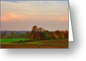 Sunset Prints Pastels Greeting Cards - Softly Falling Night Greeting Card by Liz Evensen