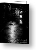 Raining Greeting Cards - Soho Noir Greeting Card by Dean Harte