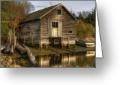 Shed Digital Art Greeting Cards - Sointula Boat Shed Greeting Card by Darryl Luscombe