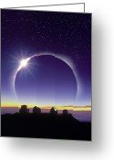 Telescope Domes Greeting Cards - Solar Eclipse Greeting Card by David Nunuk