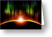Glowing Moon Greeting Cards - Solar Eclipse Greeting Card by Svetlana Sewell