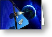 Laser Beam Greeting Cards - Solar Power Satellite Greeting Card by Detlev Van Ravenswaay