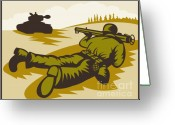 Military Artwork Greeting Cards - Soldier Aiming Bazooka Greeting Card by Aloysius Patrimonio