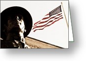 United We Stand Greeting Cards - Soldier And Flag Greeting Card by Syed Aqueel