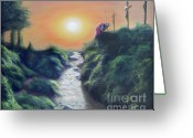 Religious Artwork Painting Greeting Cards - Soldier at the Cross Greeting Card by Larry Cole