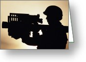 Shoulder Greeting Cards - Soldier Holds A Stinger Anti-aircraft Greeting Card by Stocktrek Images