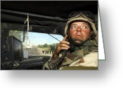 Transceiver Greeting Cards - Soldier Monitors The Progress Of A 67 Greeting Card by Stocktrek Images