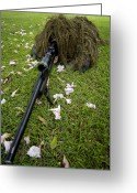 Suits Greeting Cards - Soldier Practices Sniper Tactics Greeting Card by Stocktrek Images