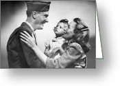 Veteran Photography Greeting Cards - Soldier With Family Greeting Card by George Marks