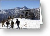 Snow Boarding Greeting Cards - Soldiers Board A U.s. Army Uh-60 Black Greeting Card by Stocktrek Images