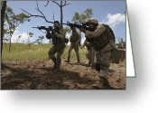 Battleground Greeting Cards - Soldiers Conduct A Live-fire Greeting Card by Stocktrek Images