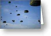 Skydiving Greeting Cards - Soldiers Descend Under A Parachute Greeting Card by Stocktrek Images