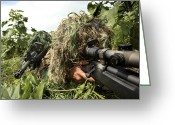 Camouflage Clothing Greeting Cards - Soldiers Dressed In Ghillie Suits Greeting Card by Stocktrek Images