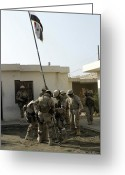 Flag Raising Greeting Cards - Soldiers From The Iraqi Special Forces Greeting Card by Stocktrek Images