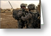 Camouflage Clothing Greeting Cards - Soldiers Help One Another Greeting Card by Stocktrek Images