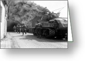 Armored Vehicles Greeting Cards - Soldiers Move Through A Smoke Filled Greeting Card by Stocktrek Images