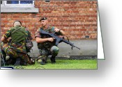 Belgian Army Greeting Cards - Soldiers Of The Belgian Army Helping Greeting Card by Luc De Jaeger
