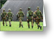 Belgian Army Greeting Cards - Soldiers Of The Belgian Army Greeting Card by Luc De Jaeger