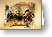 2nd Greeting Cards - Soldiers on the Wall Greeting Card by Jeff Steed