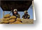 Suspicion Greeting Cards - Soldiers Provide Security Greeting Card by Stocktrek Images