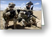 Transceiver Greeting Cards - Soldiers Respond To A Threat Greeting Card by Stocktrek Images