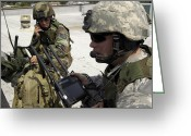 Transceiver Greeting Cards - Soldiers Review Map Data Greeting Card by Stocktrek Images