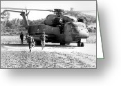 Battleground Greeting Cards - Soldiers Run To A Hh-53c Helicopter Greeting Card by Stocktrek Images