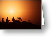 Operation Desert Storm Greeting Cards - Soldiers Set Up A Security Outpost Greeting Card by Stocktrek Images