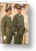 Chairman Mao Zedong Greeting Cards - Soldiers Stand Guard At The Tomb Of Mao Greeting Card by Richard Nowitz
