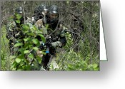 Camouflage Clothing Greeting Cards - Soldiers Walking Through Brush Greeting Card by Stocktrek Images