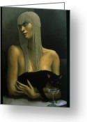 Black Cat Greeting Cards - Solitare Greeting Card by Jane Whiting Chrzanoska