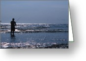 Beach Photo Greeting Cards - Solitary Angler Greeting Card by Skip Willits