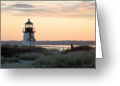 New England Lighthouse Greeting Cards - Solitude at Brant Point Light Nantucket Greeting Card by Henry Krauzyk
