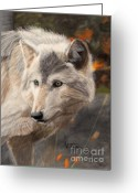 Wolves Pastel Greeting Cards - Solitude Greeting Card by Nichole Taylor