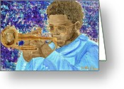 Player Mixed Media Greeting Cards - Solo Trumpet Greeting Card by Michael Lee