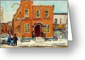 Hebrew Delis Greeting Cards - Solomons Temple Montreal Bagg Street Shul Greeting Card by Carole Spandau