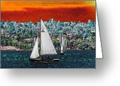 Lake Union Greeting Cards - Solstice Sailin Greeting Card by Tim Allen