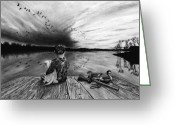 Charcoal Greeting Cards - Some Day Girl Greeting Card by Peter Piatt